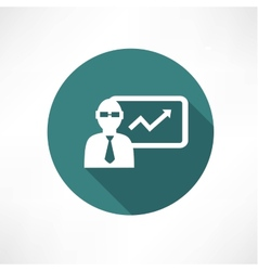 Businessman with graph icon vector image vector image