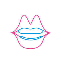 color line mouth with lipstick in the lips fashion vector image