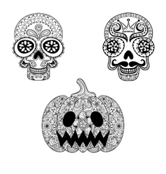 Hand drawn Skulls and Pumpkin in zentangle style vector image