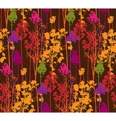 Pattern with colorful trees on brown background vector image vector image