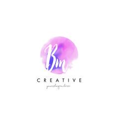 bm watercolor letter logo design with purple vector image vector image