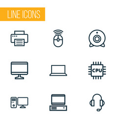 Computer icons line style set with peripheral pc vector