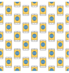 linear seamless pattern with mobile internet icon vector image vector image