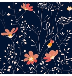 Wild plants and flower seamless pattern vector image