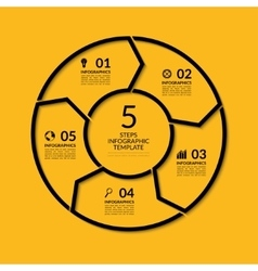 Infographic circle template with 5 steps vector image vector image
