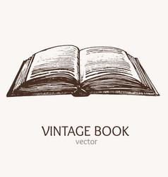 open vintage book hand draw sketch card vector image vector image