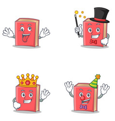 Set of red book character with crazy magician king vector