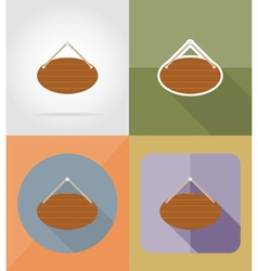 wooden board flat icons 14 vector image vector image