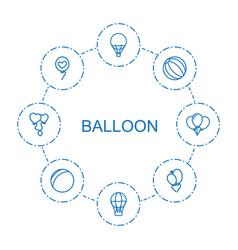8 balloon icons vector image