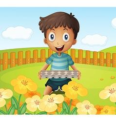 A boy in the garden holding an empty egg tray vector image