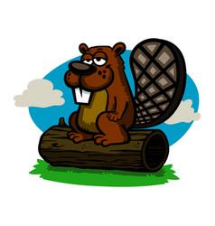A cartoon beaver vector