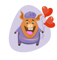 a cute cartoon pig holding a balloon in the shape vector image