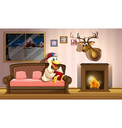 A duck reading a book beside a fireplace vector