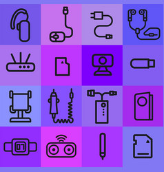Accessories icons for mobile phone vector