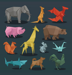 Animals origami set wild animals creative vector