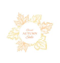 autumn sale frame emblem card or sign template vector image