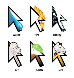Awesome cursor set with elements of life vector image