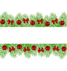 banner of christmas trees decorated with balls and vector image