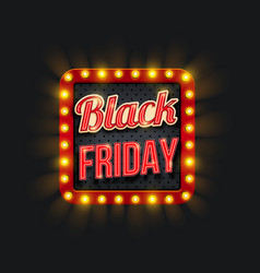 black friday sale promo banner with light frame vector image