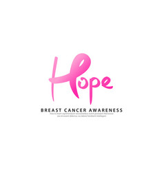 Breast cancer logo template with text hope vector