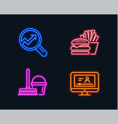 Bucket with mop burger and analytics icons vector