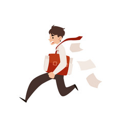 Business man runs holding briefcase under arm and vector
