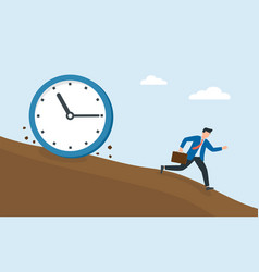 Businessman running away from a clock or time vector