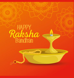Candle and bracelet hindu traditional decoration vector