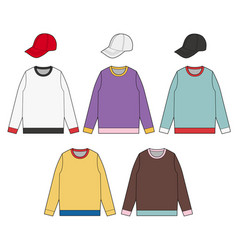 Cap sweatshirt fashion flat technical drawing temp vector