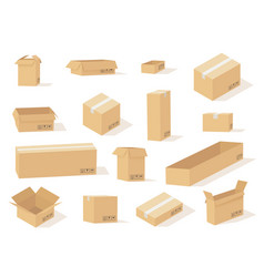 Cardboard box boxes open and closed different vector
