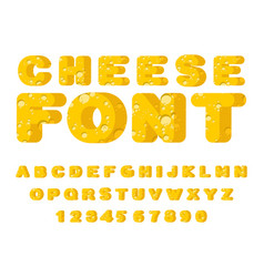 cheese font cheesy abc food alphabet yellow vector image