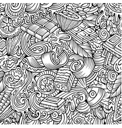 chocolate hand drawn doodles seamless pattern vector image