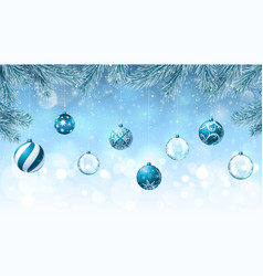 Christmas background with fir branches an vector