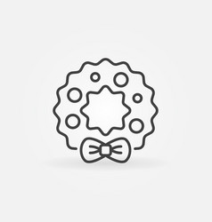 christmas wreath concept icon in thin line vector image