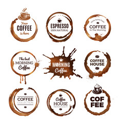 coffee rings labels badges design with circles vector image
