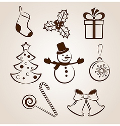 Collection of Christmas icons or objects vector image