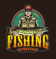 Colorful fishing vintage badge vector
