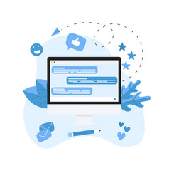 communication in online chat with desktop vector image