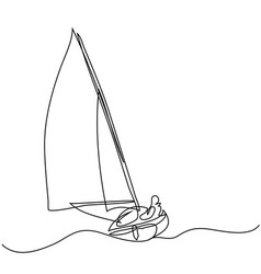 Continuous line drawing sailboat with captain vector