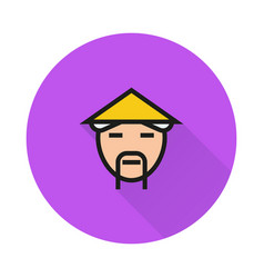 countryman in asian hat icon on round background vector image