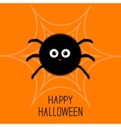 Cute cartoon fluffy spider on the web Halloween vector