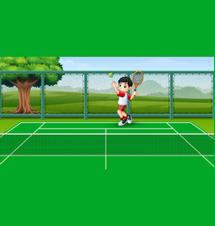 cute little boy playing tennis at the courts vector image