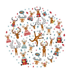 cute reindeer sticker icon set round design vector image