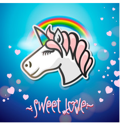 cute unicorn animal sticker vector image