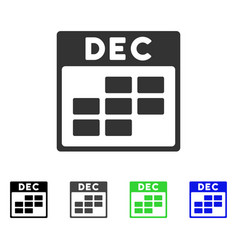 December calendar grid flat icon vector