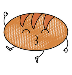 Delicious bread kawaii character vector