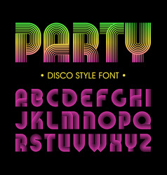 Disco party style font vector