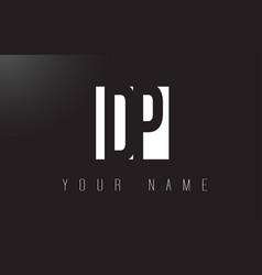 dp letter logo with black and white negative vector image
