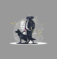 Drone dude walking with dog vector