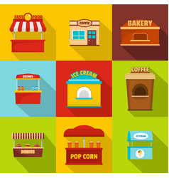 Eatery icons set flat style vector